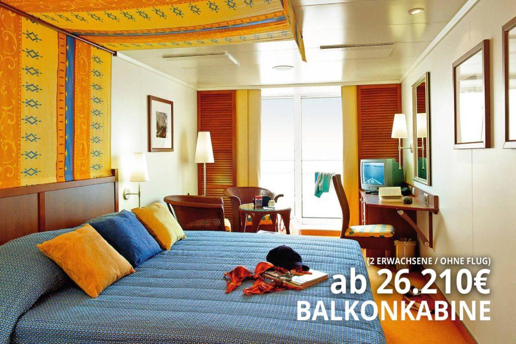 AIDAaura Balkonkabine - Weltreise Hamburg nach San Antonio 2020