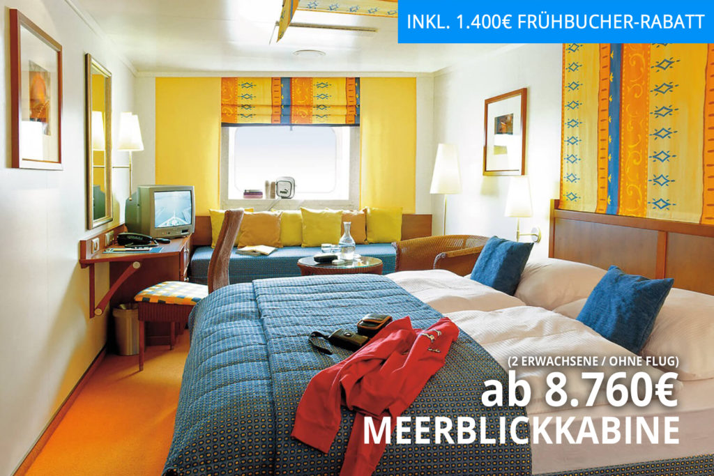 Weltreise mit AIDAaura von Mauritius in Richtung Hamburg - Meerblickkabine