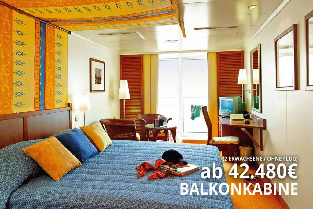AIDAaura Balkonkabine - Weltreise San Antonio nach Mauritius 2020 / 2021
