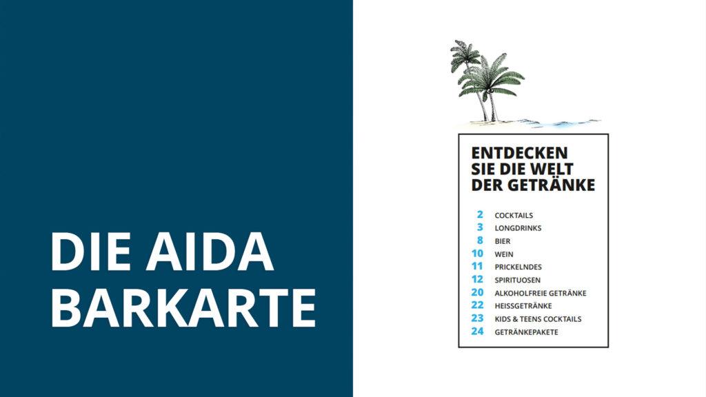 AIDA BAR Karte - August 2019